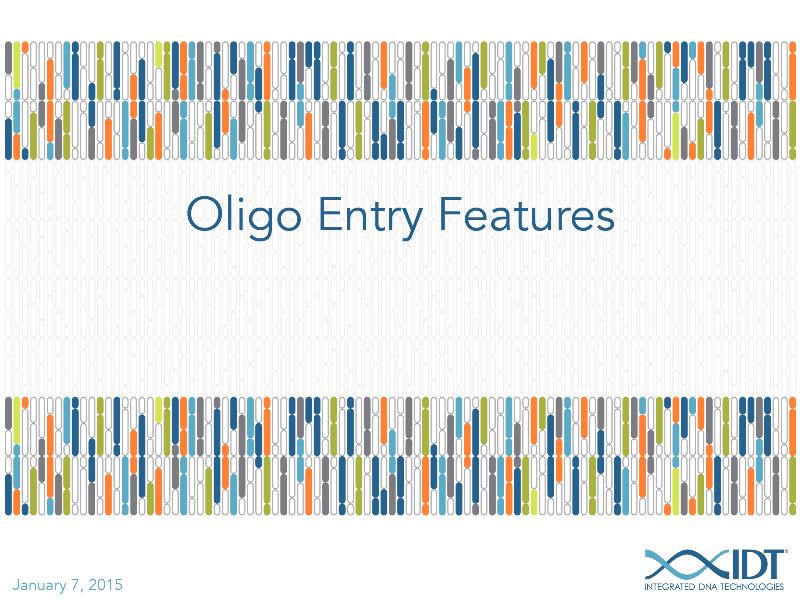 Demonstratingfeaturesoftheoligoentrytool